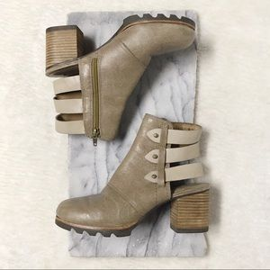 Sorel Leather Ankle Wrap Boots Taupe Sz 6